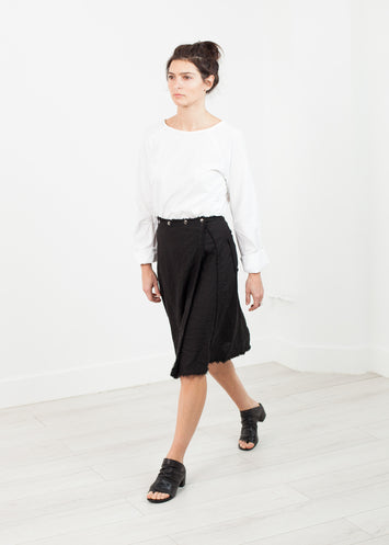 Wrap Snap Skirt in Black
