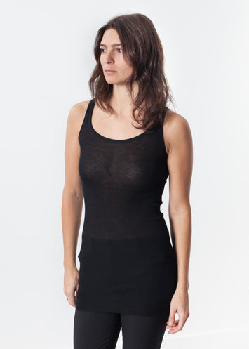 Easy Ribbed Tank in Black