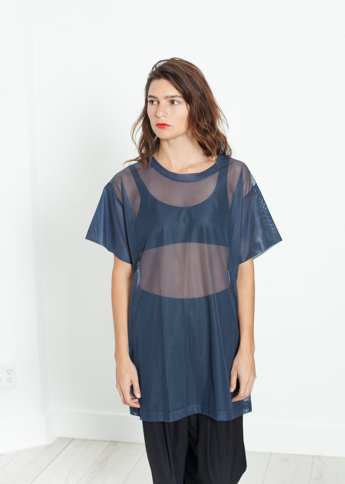 Mesh Over Tee in Navy