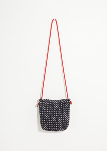 Wool Shoulder Pouch in Black/White