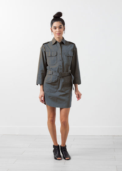 Belted Surplus Dress