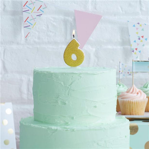 65th Birthday Gold Glitter Number 6 Candle