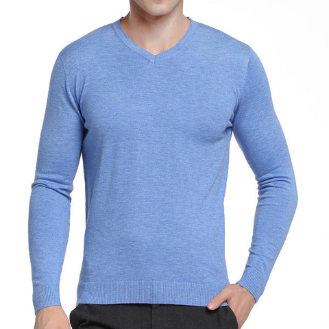 Mens Casual Solid Slim Fit Thin V-Neck Long Sleeve Woolen Knit Sweater