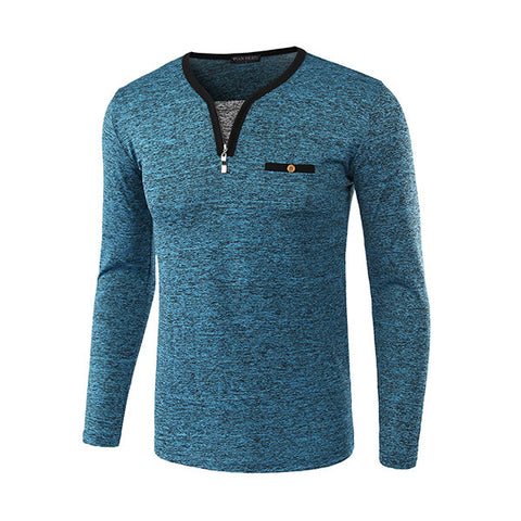 Mens Spring Fall Zipper Design V-neck Long Sleeve Casual T-shirt