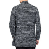 Mens Fashion Turn-Down Collar Slim Fit Long-Sleeved Knit Sweater Cardigan