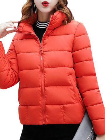 Casual Solid Color Stand Collar Long Sleeve Women Down Coats