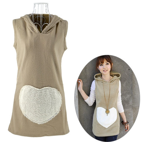 New Fashion Korea Women Tops Woolen Hoodie Winter Waistcoat Vest 2 Colors