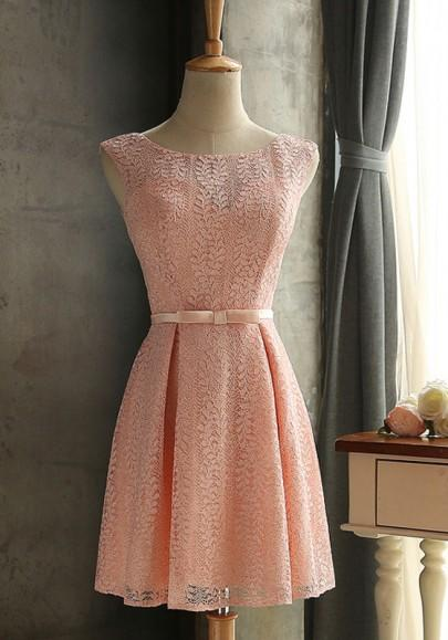 New Women Pink Lace Bow Lace-up Pleated Sleeveless Elegant Mini Dress