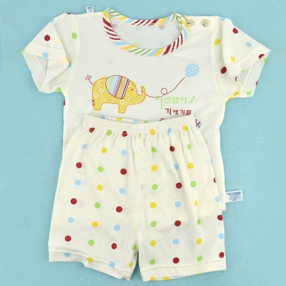 New Fashion Baby Infant Summer Elephant Pattern Suit T-Shirt + Pants/Toddler 3Sizes