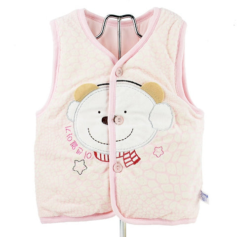 Baby Infant Velveteen Sleeveless Jacket Fall Vest 3Sizes 3Colors