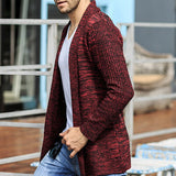 Mens Fall Winter Solid Color Knitted Cardigans Warm Turndown Collar Casual Outwears