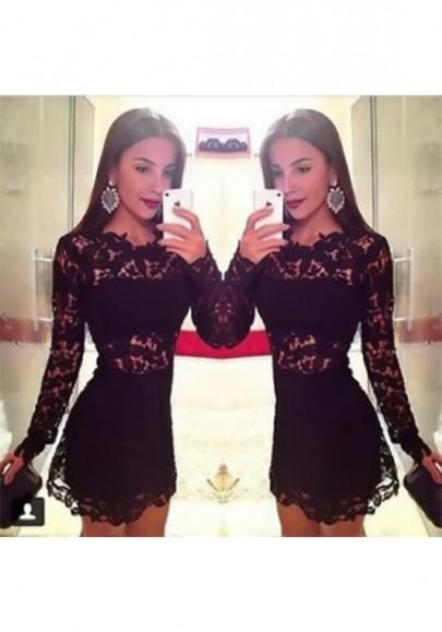 New Women Black Plain Hollow-out Round Neck Fashion Nylon Mini Dress