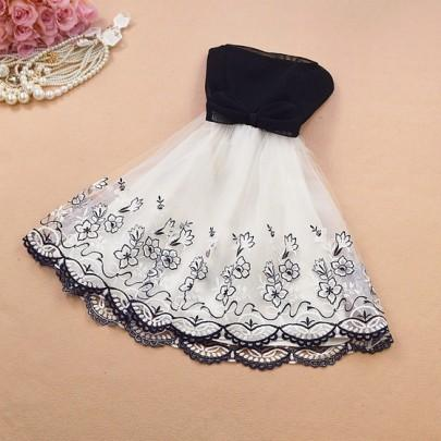 New Women Black Floral Embroidery Bow Grenadine Wavy Edge Tutu Mini Dress