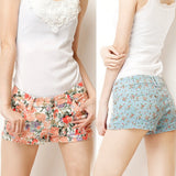 New Fashion Lady's Floral Printing Casual Jeans Short Trousers Pants Hot Shorts 4Colors