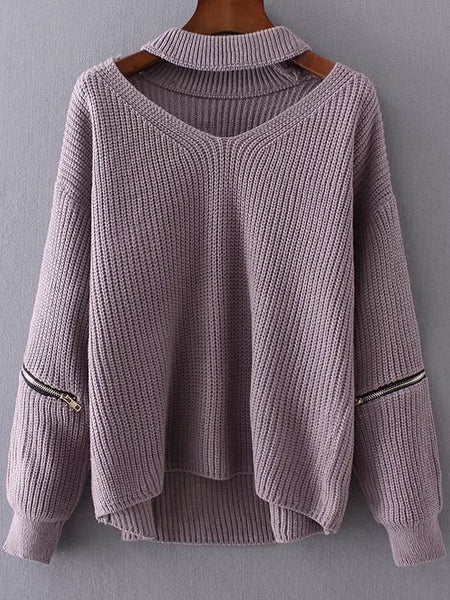 Women Loose Choker V Neck Drop Shoulder Sleeve Zipper Sweater