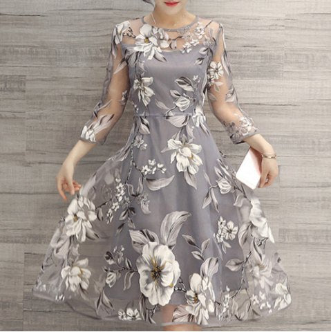 Flower Print Midi Organza Dress