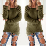 New Women Army Green Plain Irregular V-neck Streetwear Polyester Pullover Sweater