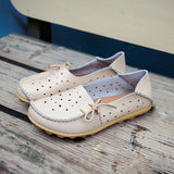Big Size Hollow Out Star Lace Up Soft Leather Multi-Way Shoes