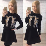 New Women Black Animal 2-in-1 Round Neck Long Sleeve Sweet Mini Dress