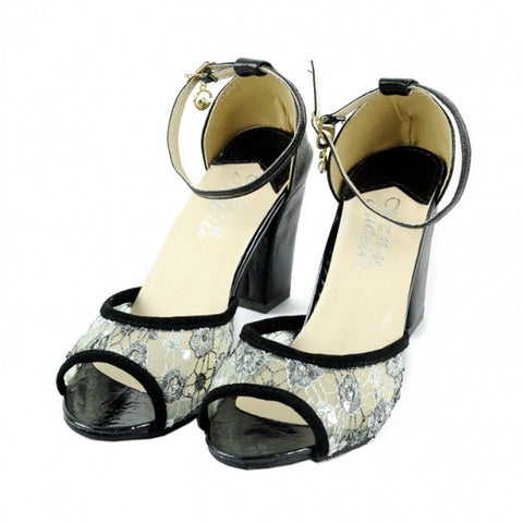 New Fashion Ladies High Heel Lace Peep-Toes Thick Heel Sandal