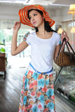New Fashion Lady Bohemian Set Round Collar Floral Printing Short Sleeve T-Shirt + Long Skirt + Belt