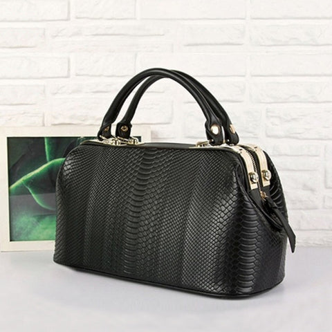 New Fashion Crocodile Pattern Women Synthetic Leather Handbag Shoulder Tote Doctor Bag