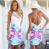 New Women White Floral Print Lace Zipper Backless Mini Dress
