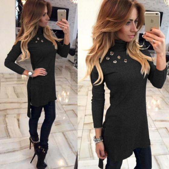 New Women Black Plain Cut Out High Neck Fashion Pullover Sweater
