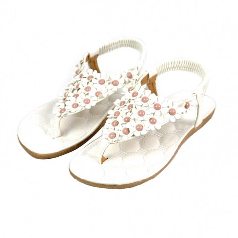 New Fashion Women Flower Beading T-strap Flip-flop Flats Sandals