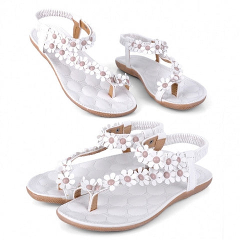 New Fashion Women Bohemia Flower Beads Flip-flop Shoes Flat Sandals