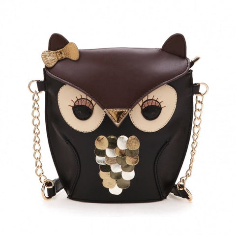 New Fashion Women's Splicing Color Cross Body Bag Owl Pattern