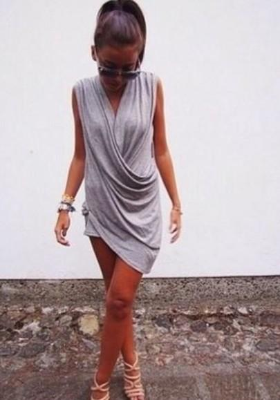New Women Grey Plain Irregular V-neck Sleeveless Fashion Mini Dress