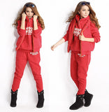 New Fashion Women Autumn Stylish Hoodies Suit Thickening Sports Hoodie Hoody + Pant + Vest 3pcs