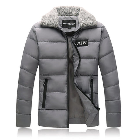 Winter Thicken Warm Fleece Collar Warm Slim Puffer Jacket for Men