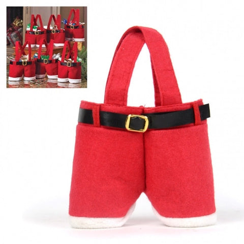 New Fashion Newest Red 5 Pcs Santa Pants Treat Candy Bags For Christmas Gift