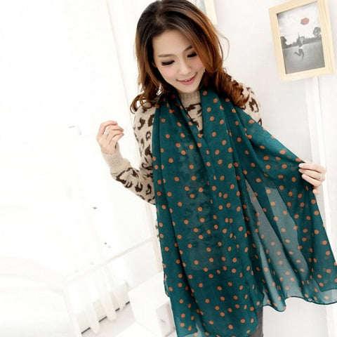 New Fashion Lady Dots Spot Chiffon Soft Shawl Scarf Neck Wrap Headscarf