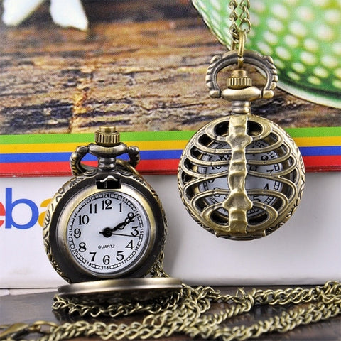 New Fashion Hollow Vintage Style Bronze Steampunk Quartz Necklace Pendant Pocket Watch