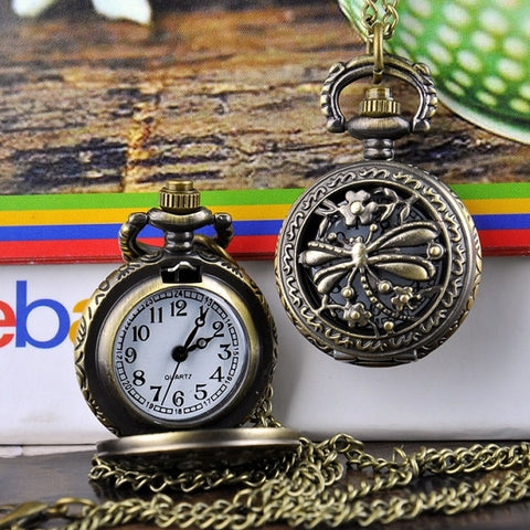 New Fashion Dragonfly Hollow Vintage Style Bronze Quartz Necklace Clock Pocket Watch