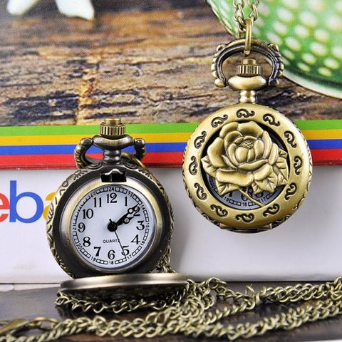 New Fashion Rose Hollow Vintage Style Bronze Quartz Necklace Clock Pocket Watch