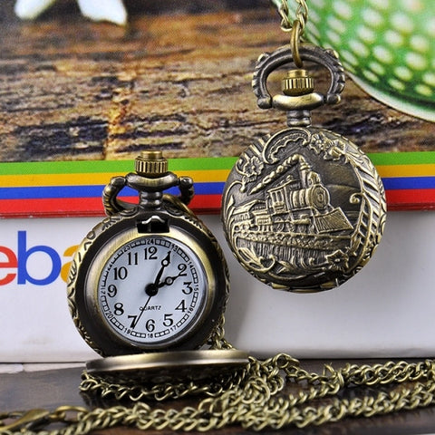 New Fashion Locomotive Vintage Style Bronze Quartz Necklace Pocket Watch