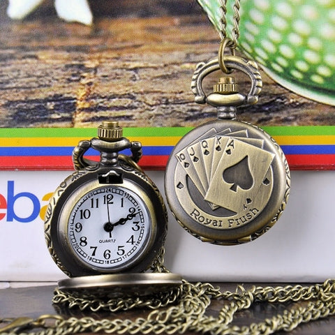 New Fashion Pattern Vintage Style Bronze Quartz Necklace Pocket Watch
