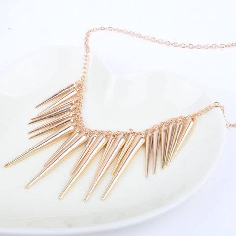 New Fashion Alloy Exaggerate Spikes Punk Necklace