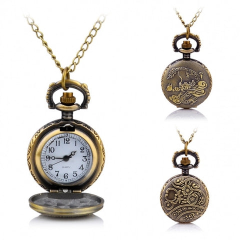 New Fashion Retro Vintage Punk Quartz Pocket Watch Chain Bronze
