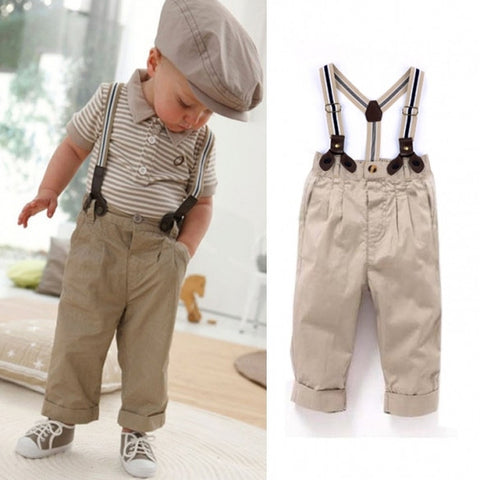 New Fashion 2Pcs Baby Boy Clothes Toddler Set Outfit Top+ Bib Pants 0-4Y