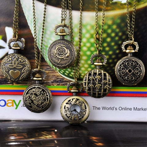 New Fashion Vintage Style Bronze Steampunk Quartz Necklace Pocket Watch