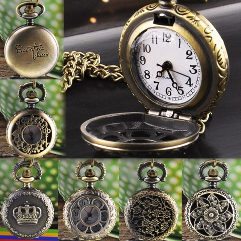 New Fashion Bronze Steampunk Quartz Necklace Pendant Pocket Watch