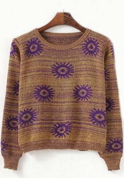 New Women Yellow-Purple Flowers Print Pullover