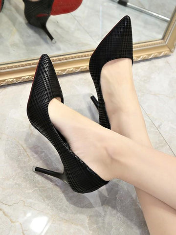 New Black Point Toe Stiletto Fashion High-Heeled Shoes