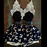 New Women Black Patchwork Belt V-neck Lace Mini Dress