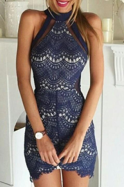 Sexy Solid Color Sleeveless Lace Tight Dress Cocktail Mini Dress